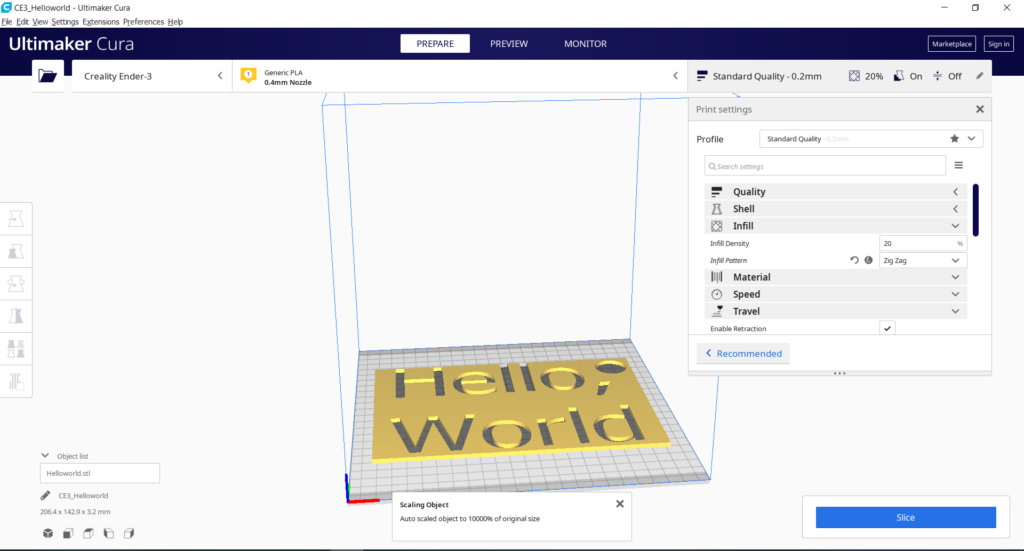 Cura environment with Hello World keyring STL file loaded